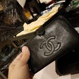 Authentic Chanel Black Caviar Leather Bi-fold Wall